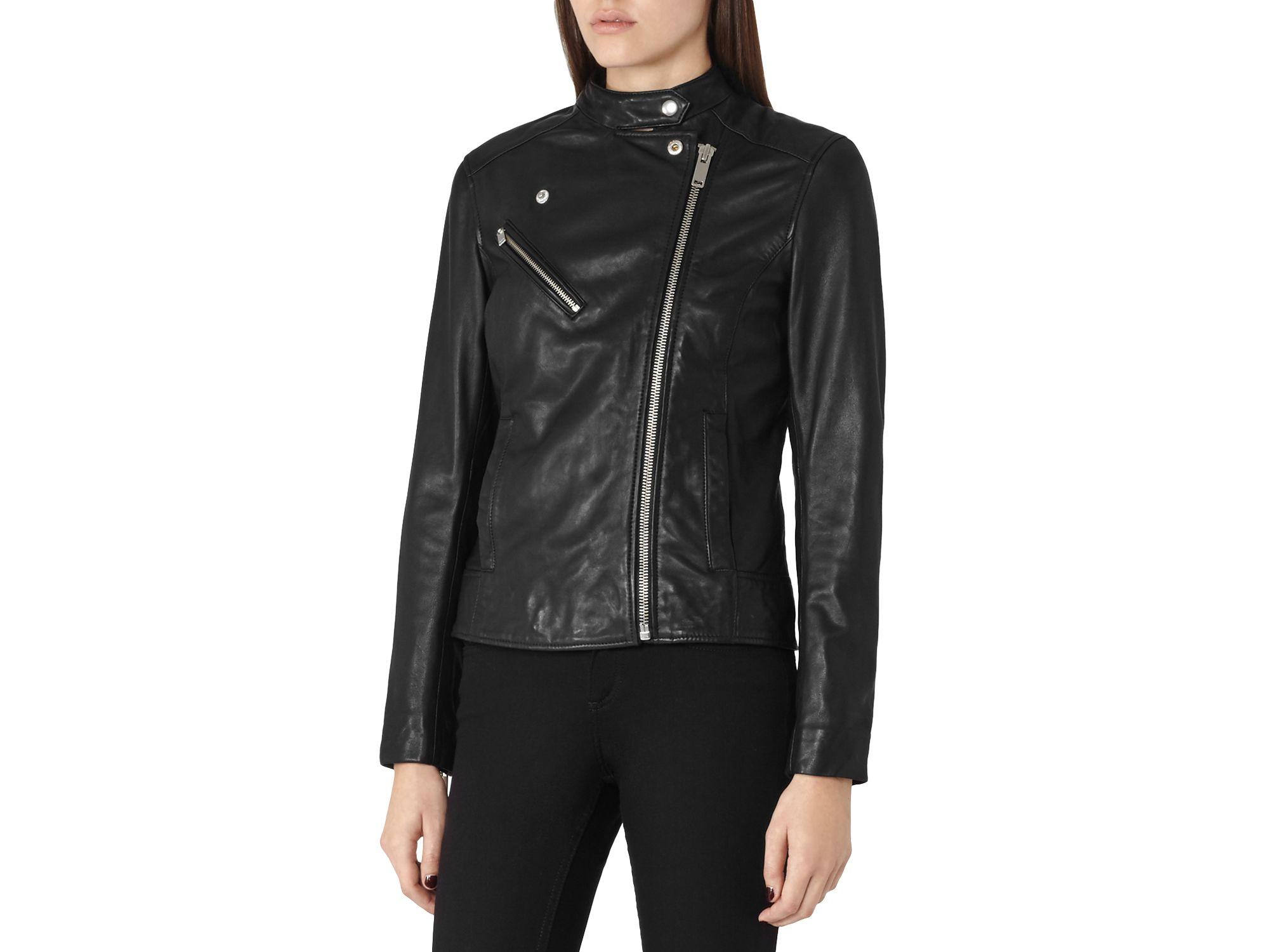 c4afaba36e6e Reiss Mya Leather Jacket in Black - Lyst