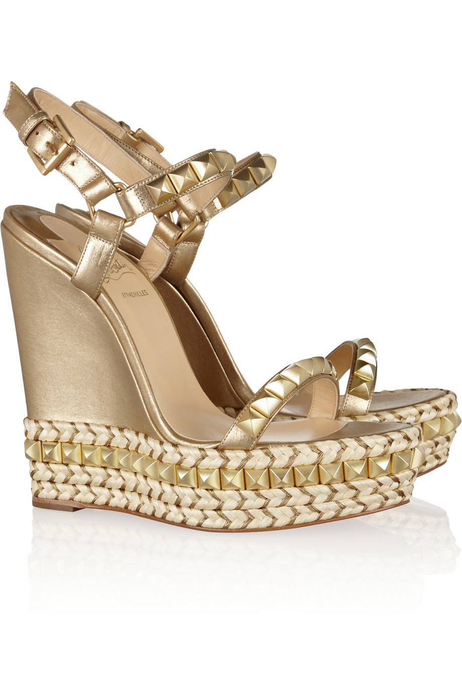 Christian louboutin Cataclou 140 Embellished Metallic Leather ...
