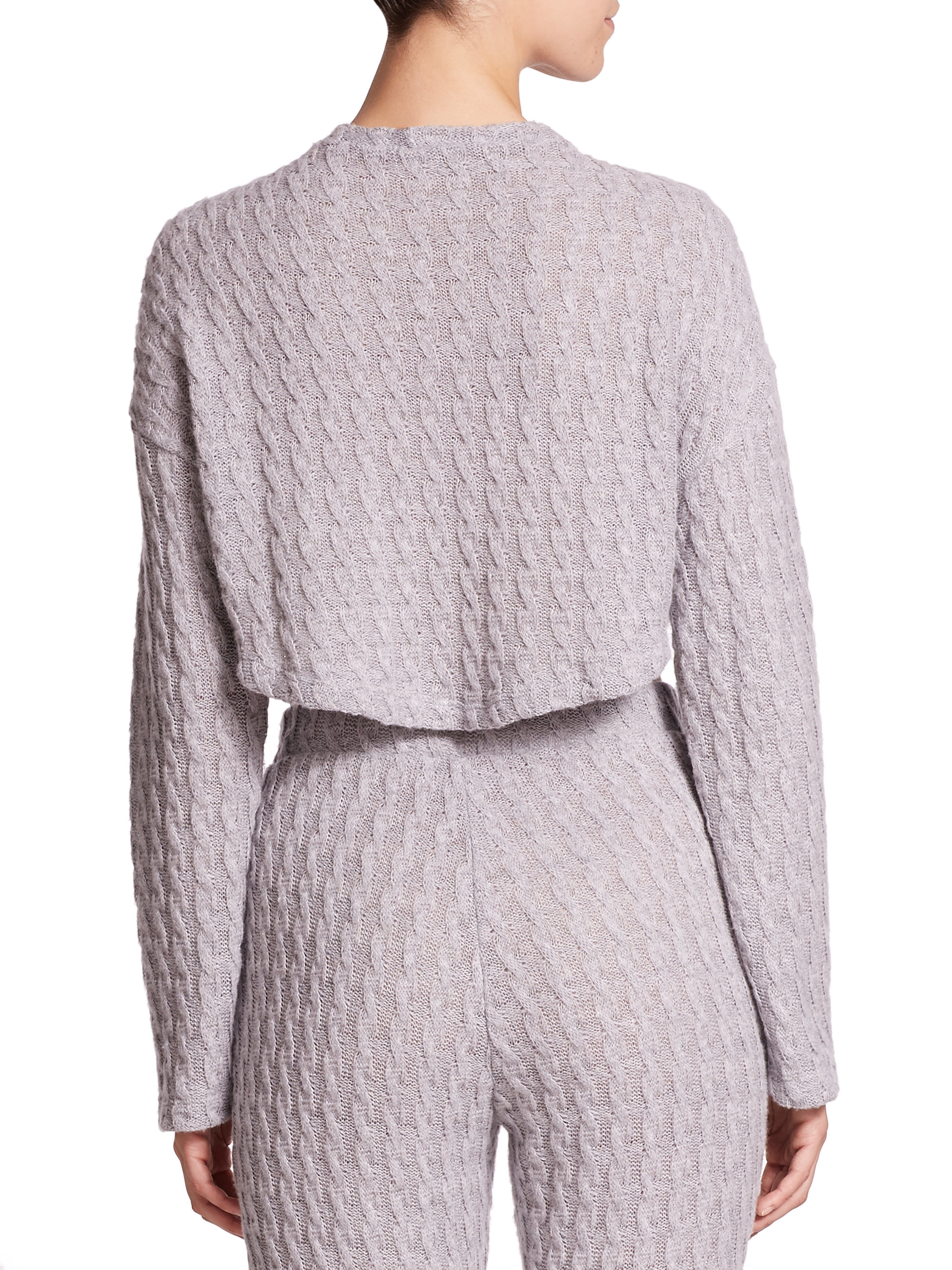 Csbla Jasmin Cropped Cable-knit Sweater in Gray   Lyst