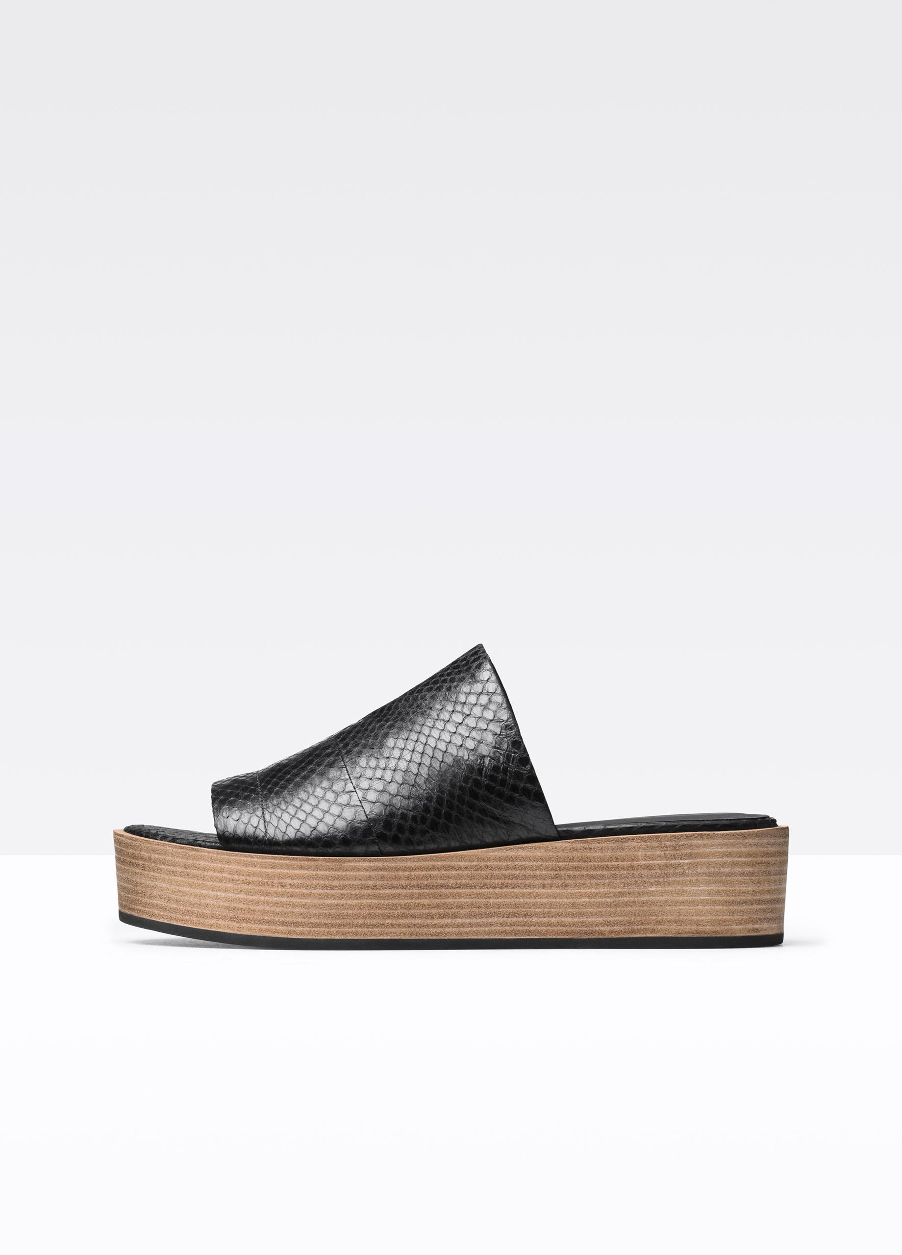 dc231312d58 Lyst - Vince Platform Slide Sandals - Saskia Snake-Embossed in Black