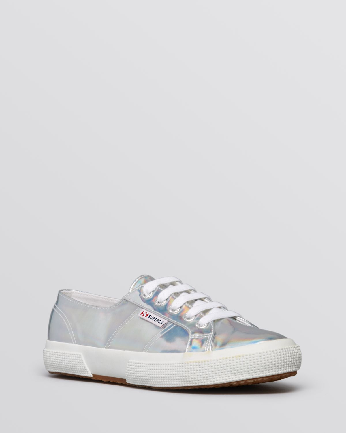 superga flat lace up sneakers mirror metallic in silver lyst. Black Bedroom Furniture Sets. Home Design Ideas