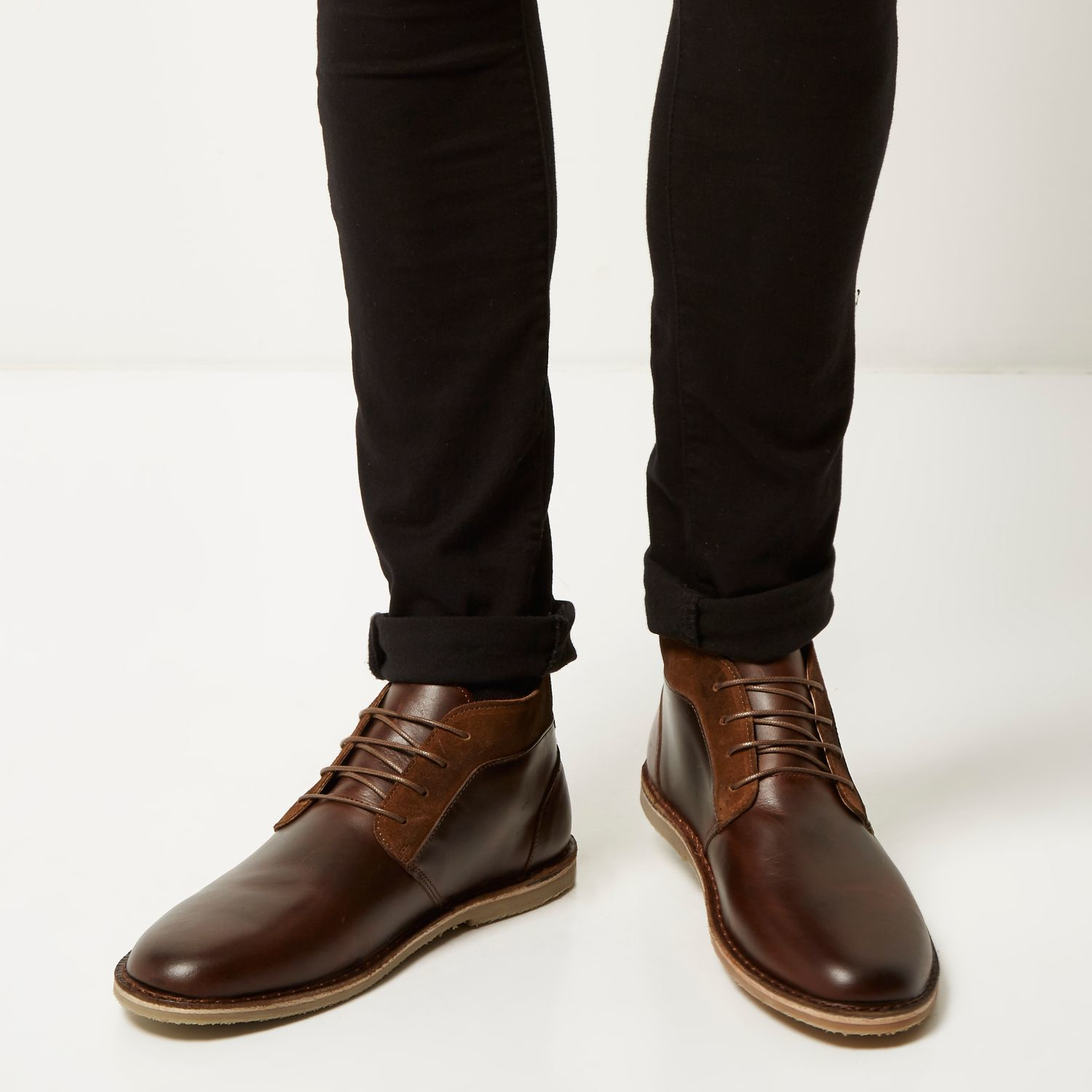 River island Brown Leather Chukka Boots in Brown for Men | Lyst