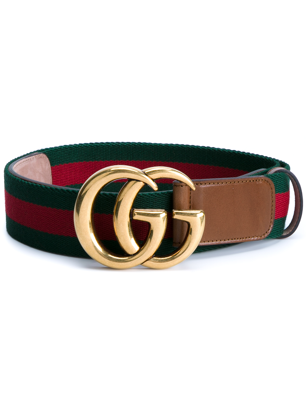 a819ff4688d Lyst - Gucci Web   Logo Canvas And Leather Belt in Green