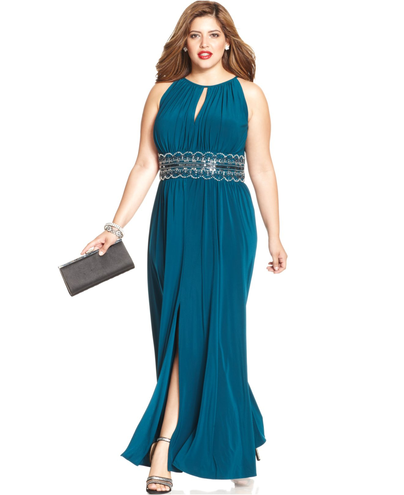 Lyst - R & M Richards R&m Richards Plus Size Sleeveless Beaded Gown ...