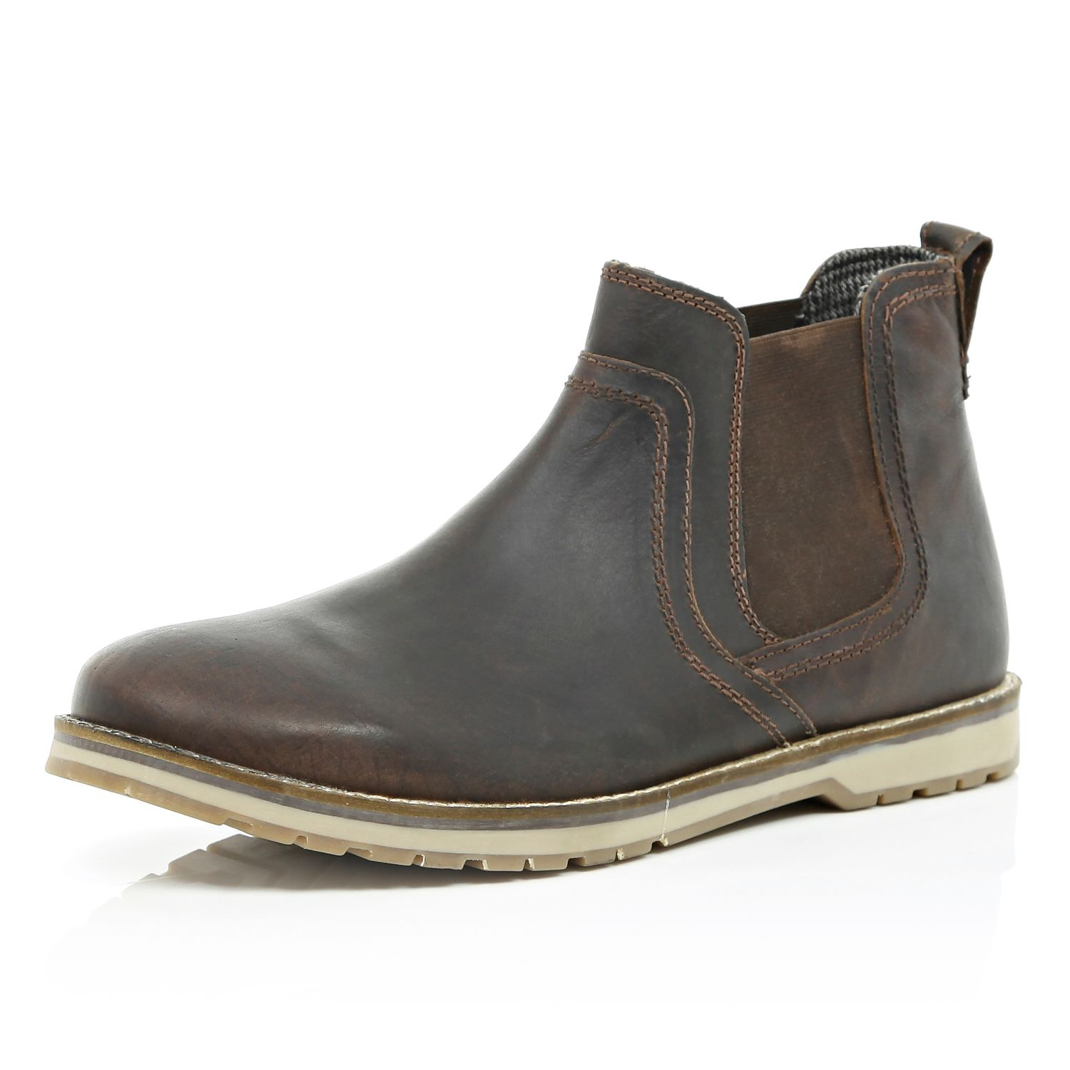 river island brown cleated sole chelsea boots in