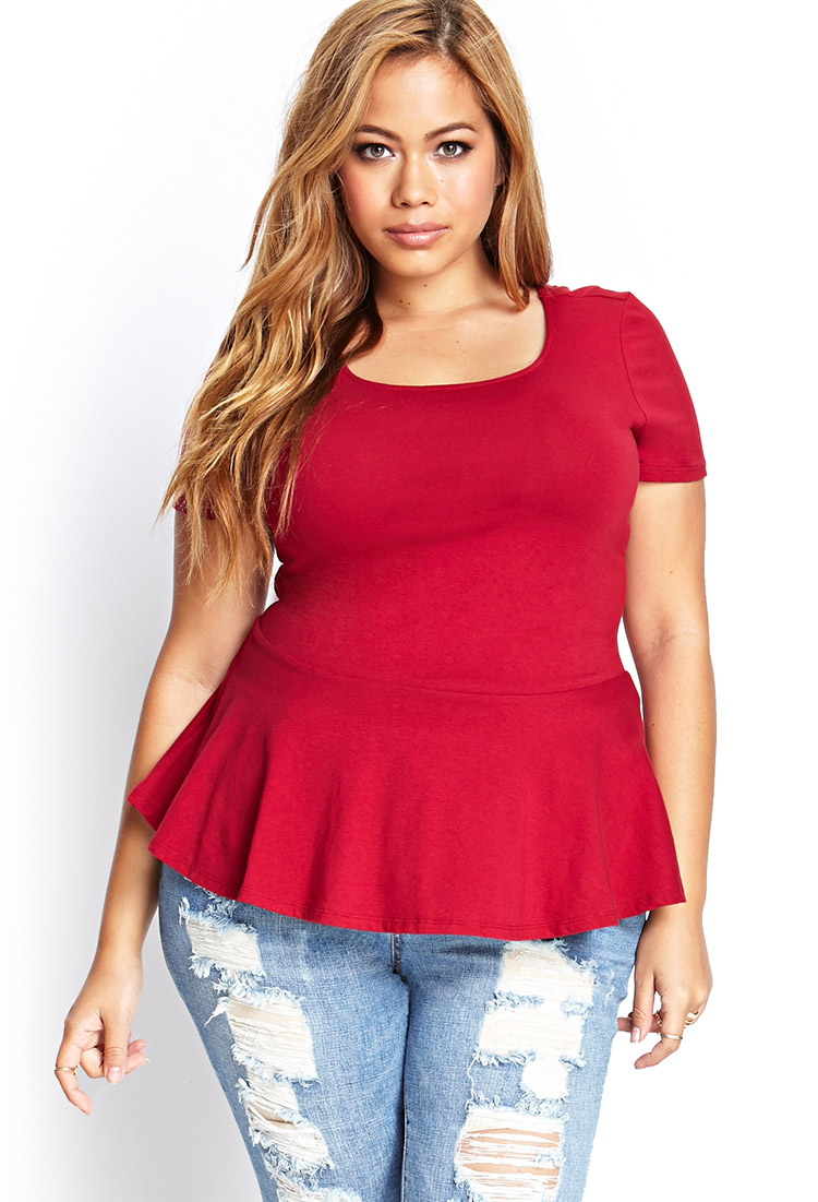 5328b4123e3 Forever 21 Plus Size Sweetheart Peplum Top in Red - Lyst