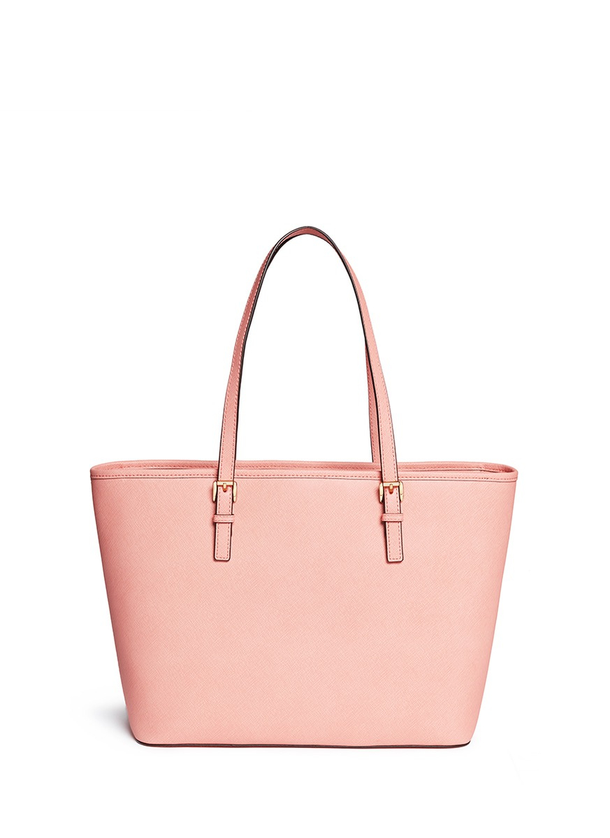6211f44b8387 ... where to buy michael kors jet set travel saffiano leather top zip tote  in pink 86b3d