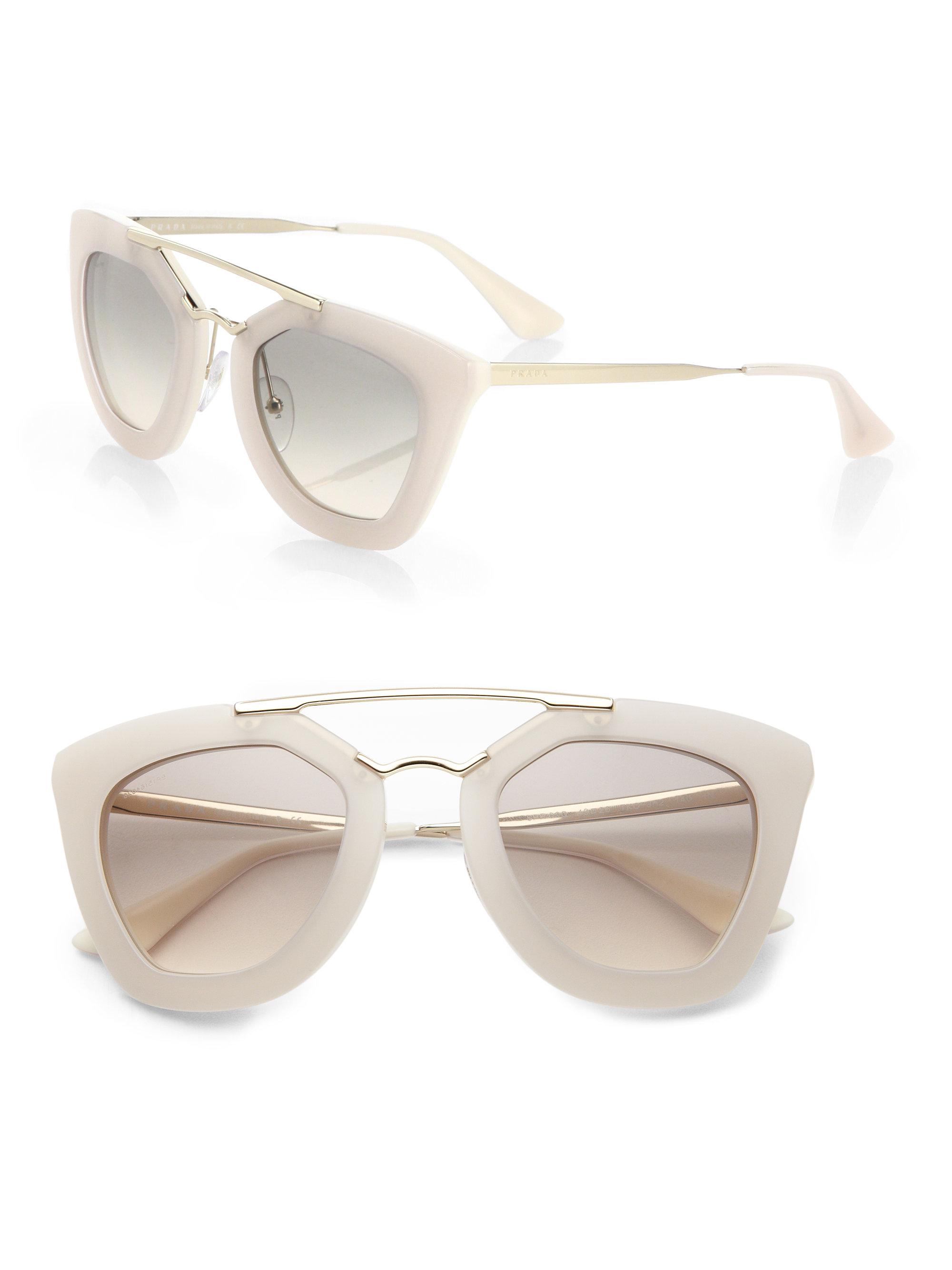 63953708a4c6 ... clearance lyst prada 49mm angular frame sunglasses in white cd552 048e8