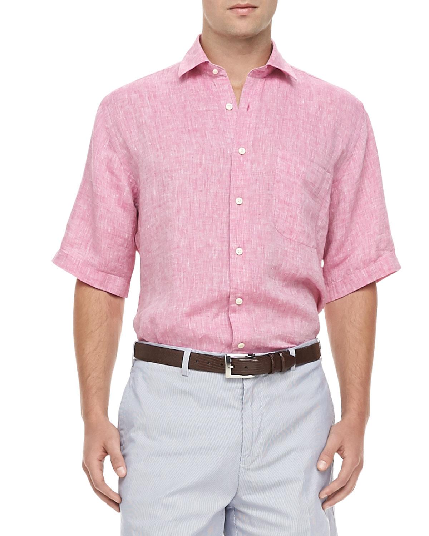 lyst peter millar linen short sleeve shirt in pink for men