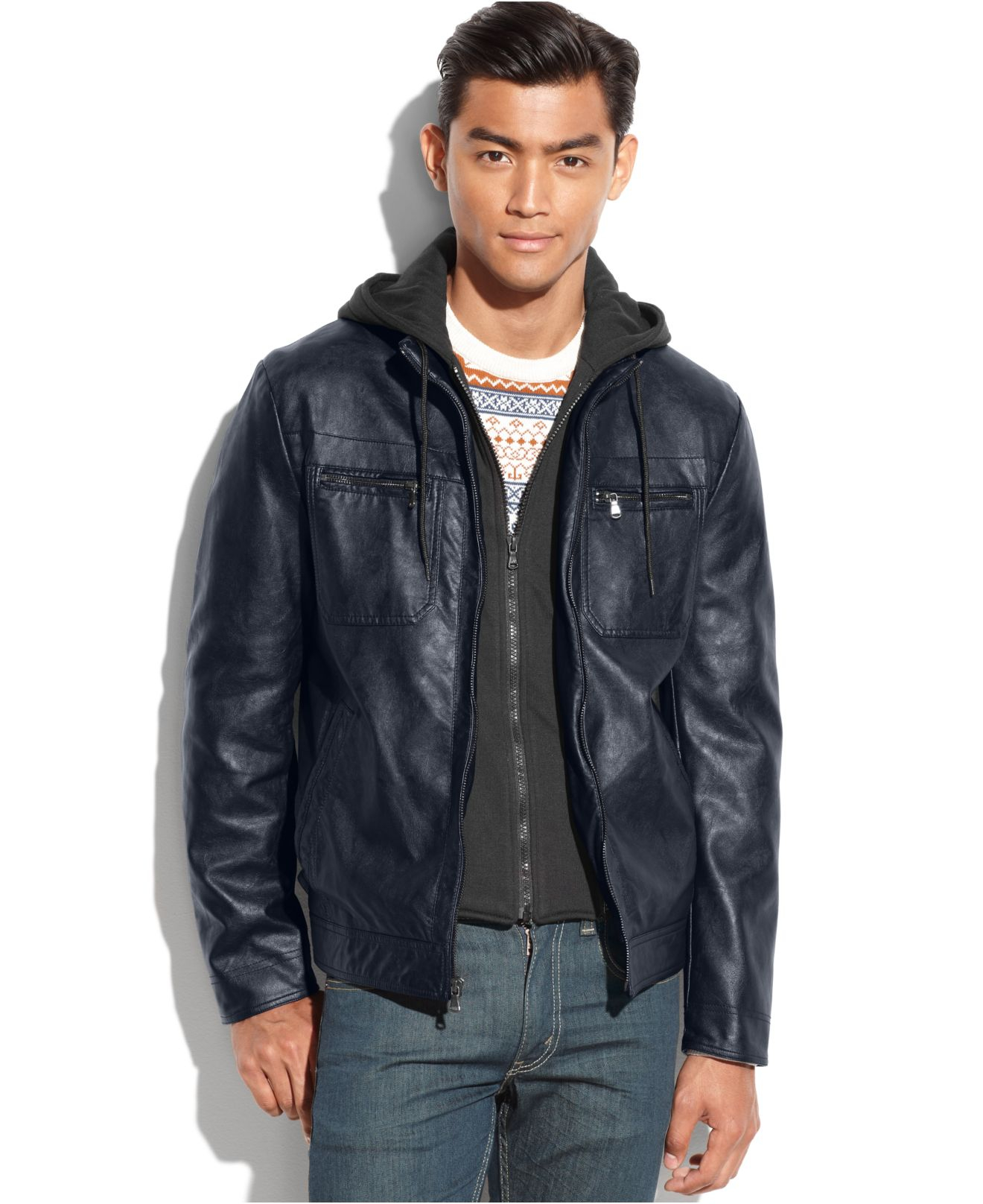 Kenneth cole Hooded Knit-Bib Faux Leather Jacket in Blue for Men ...