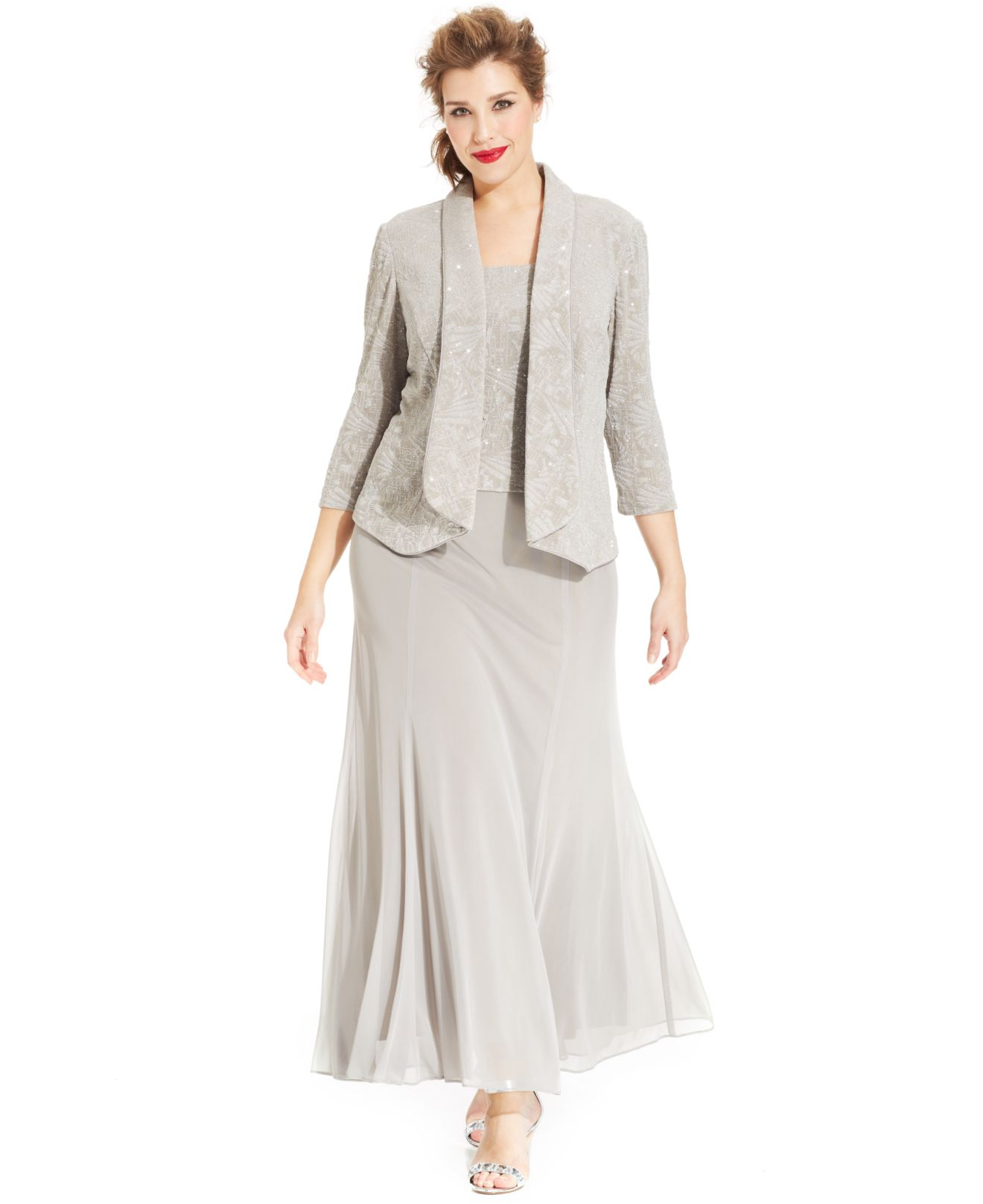 7835b31d70c Alex Evenings Plus Size Glitter Jacquard Dress And Jacket in Gray - Lyst
