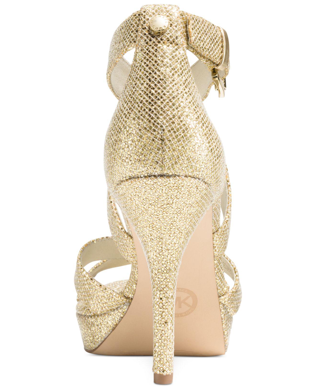 michael kors michael evie platform sandals in gold gold. Black Bedroom Furniture Sets. Home Design Ideas