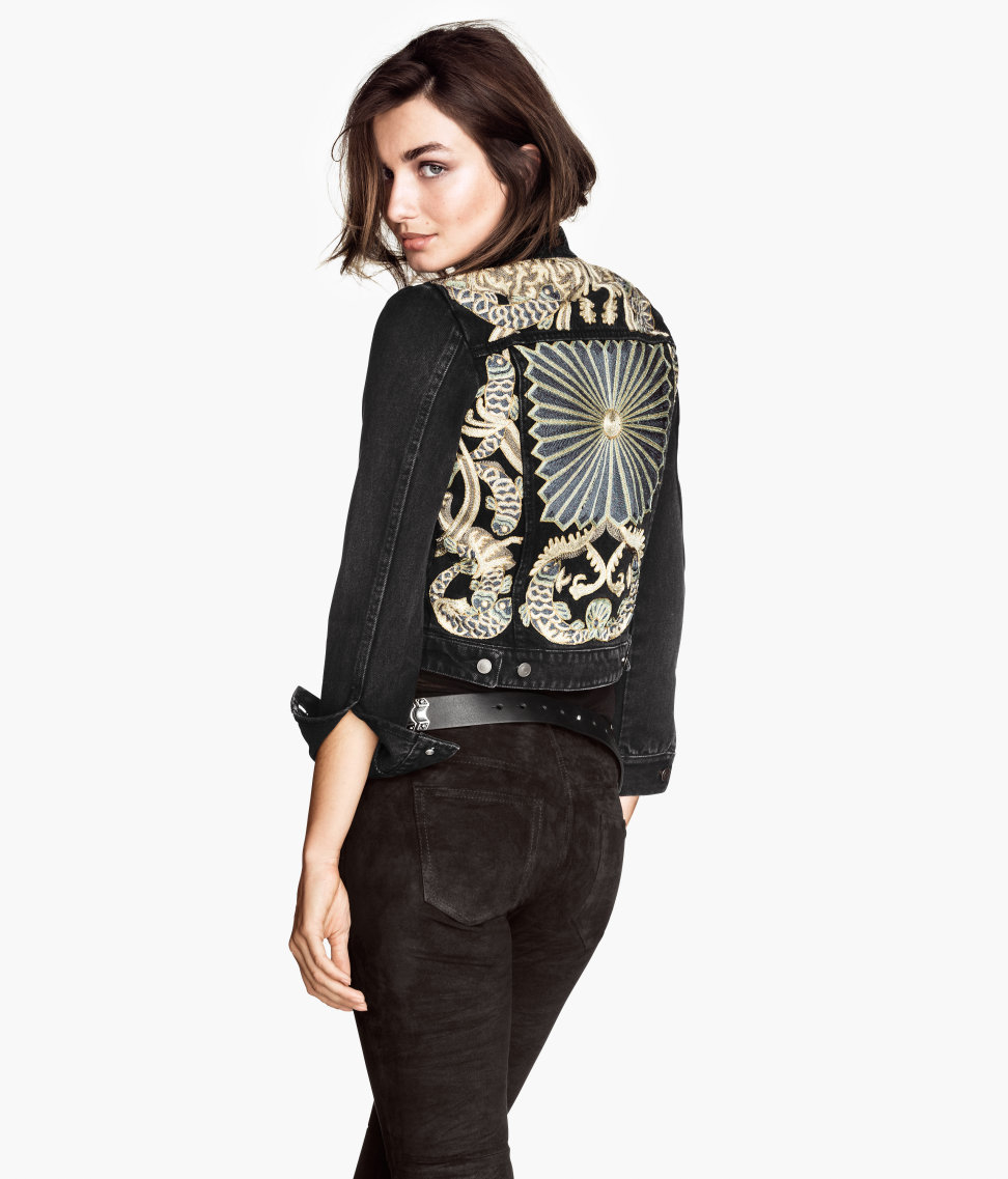 Hampm Embroidered Denim Jacket In Black  Lyst