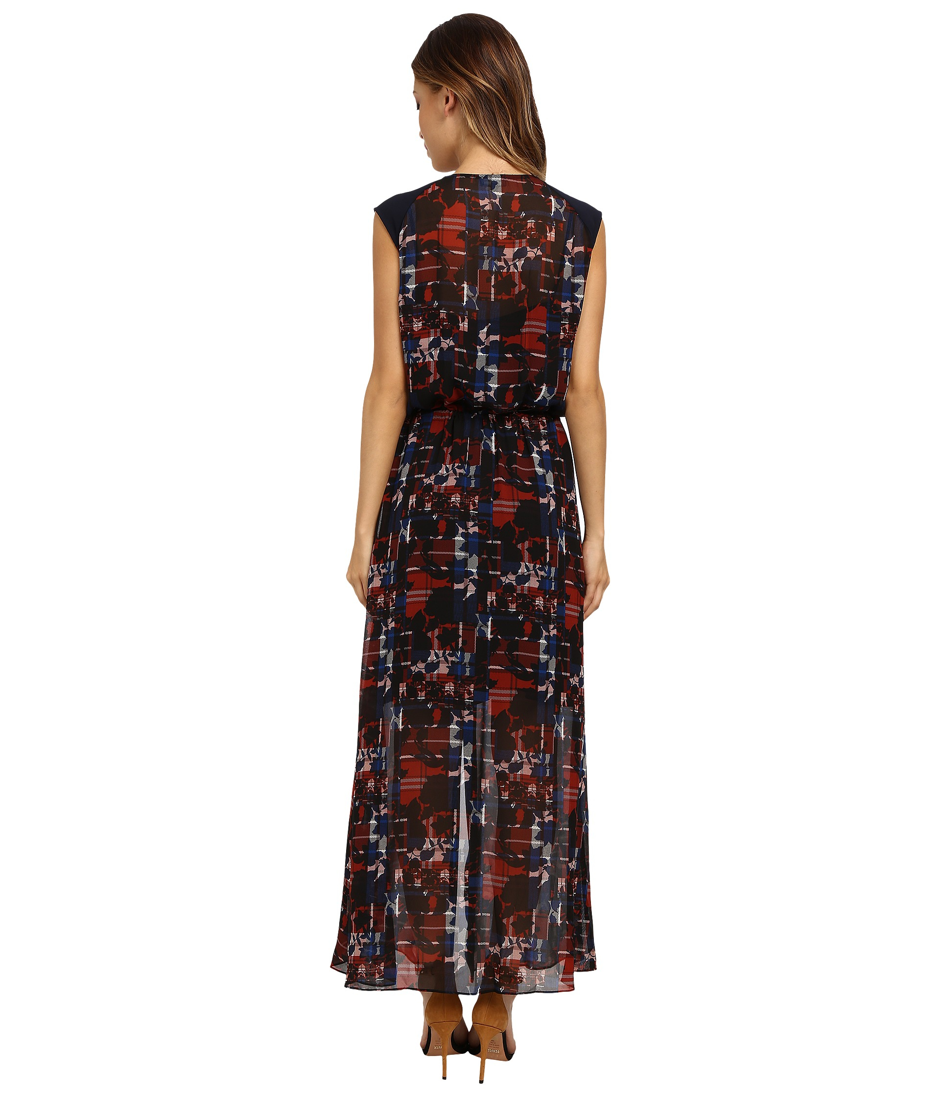 4327551afdb1 Lyst - Vince Camuto Cap Sleeve Floral Plaid Tie Waist Maxi Dress
