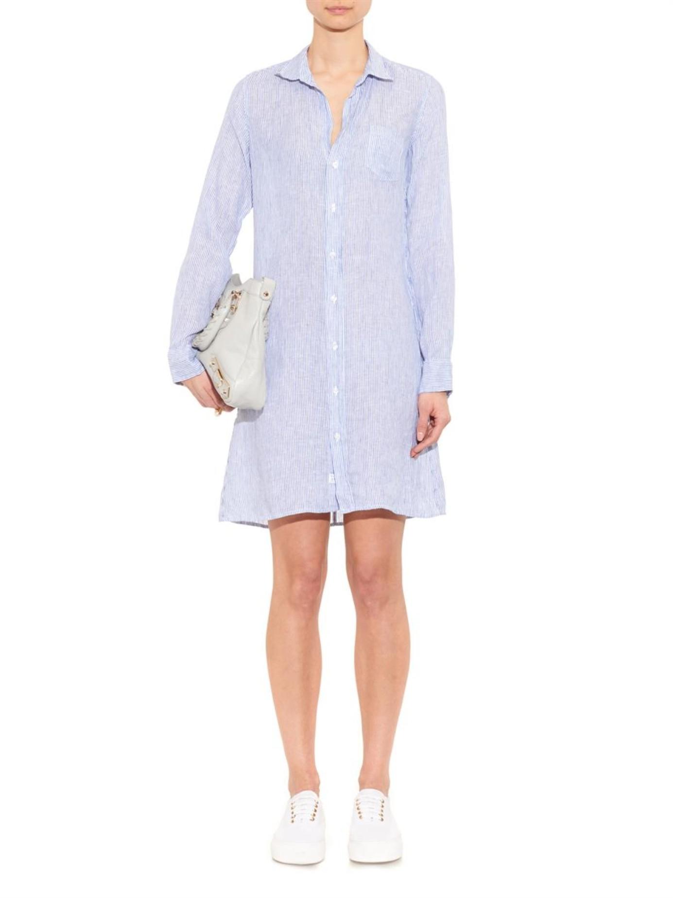 Lyst Frank Eileen Murphy Striped Linen Shirtdress In Blue