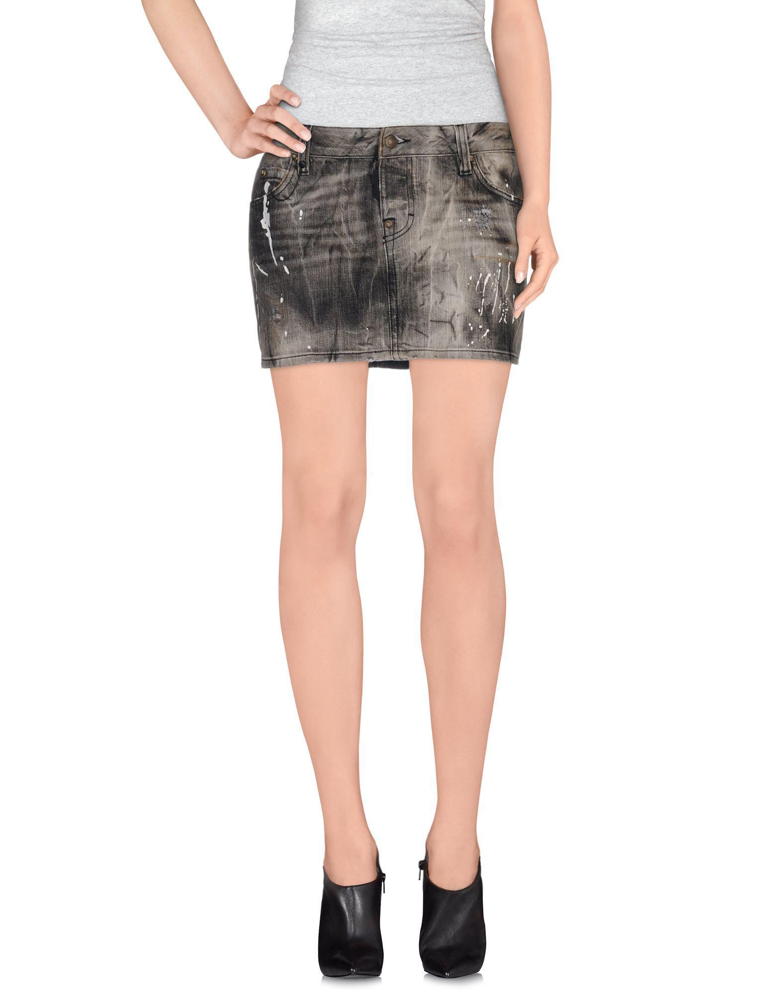 dsquared 178 denim skirt in gray lyst