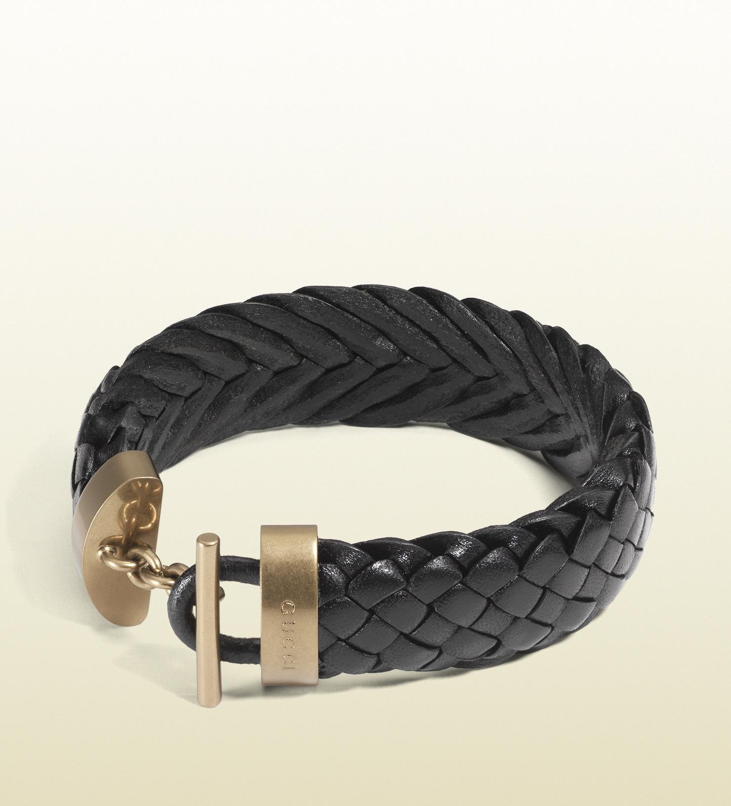 ad22cd6b6 Gucci Black Woven Leather Bracelet in Black for Men - Lyst
