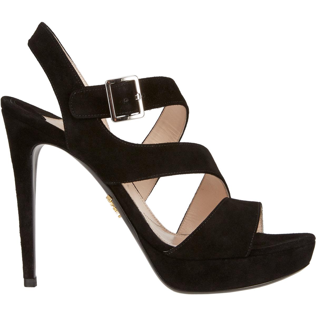 b5425da10f47 Lyst - Prada Women s Double Asymmetric-strap Platform Sandals in Black