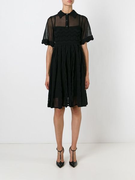 M Missoni Sheer Polo Shirt Dress In Black Lyst