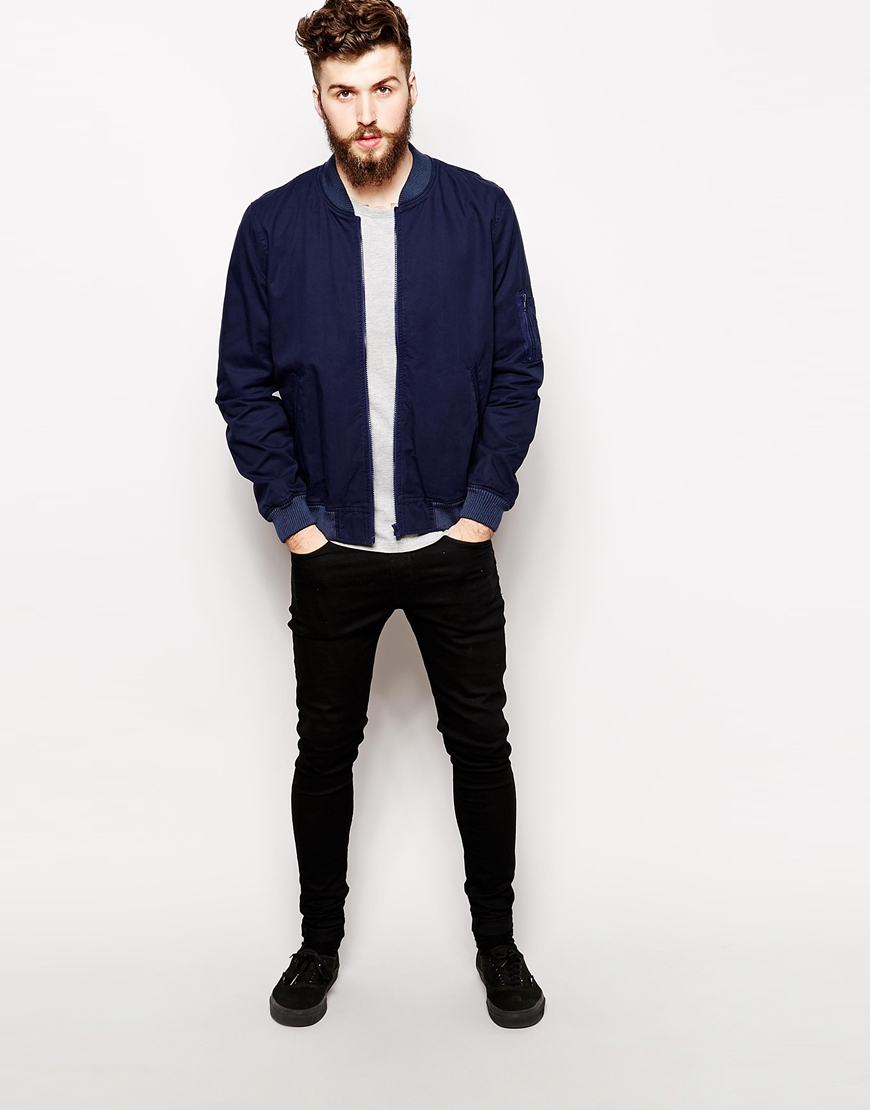 Asos Bomber Jacket In Navy in Blue for Men | Lyst