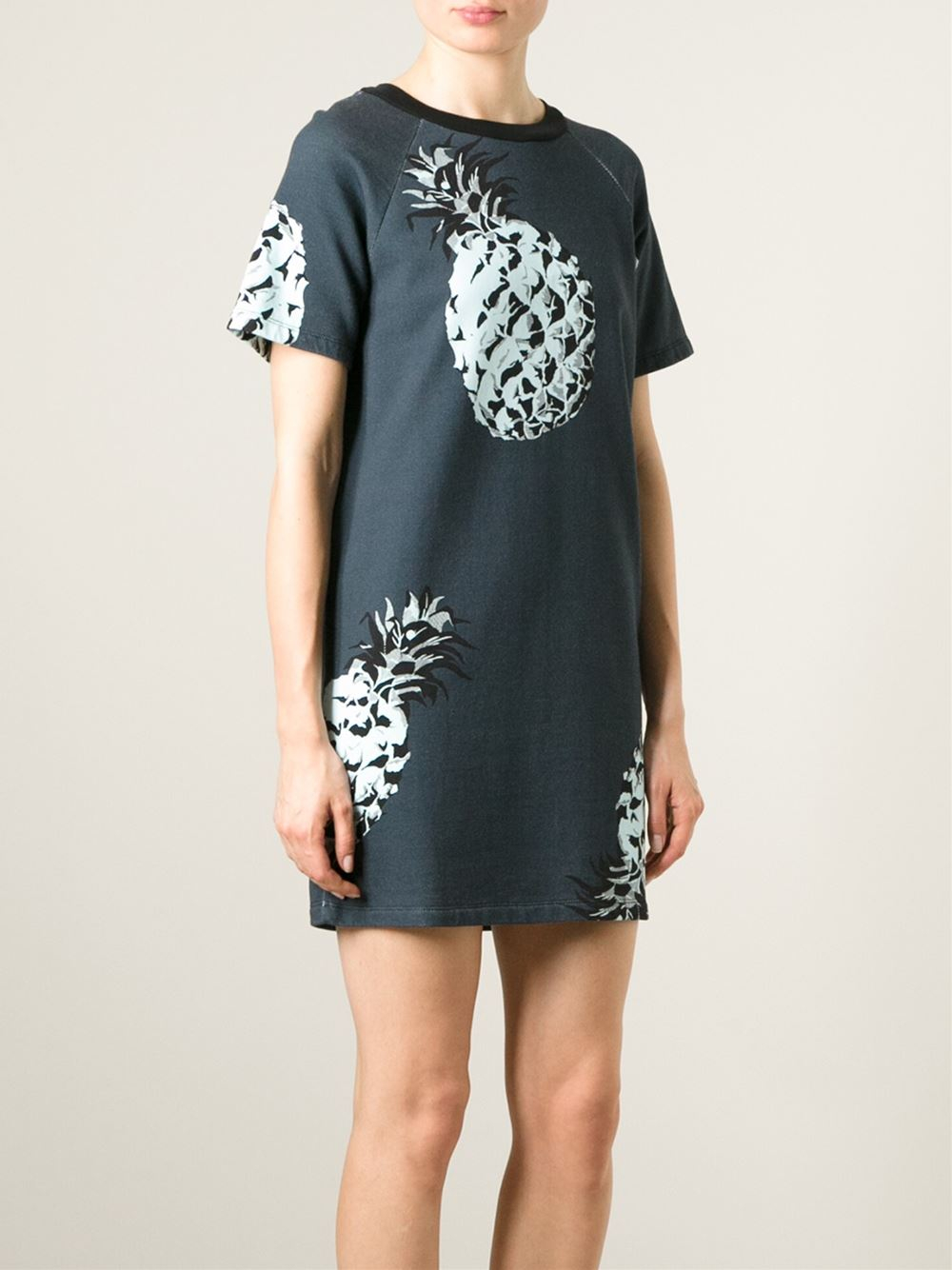 msgm pineapple print t shirt dress in blue lyst