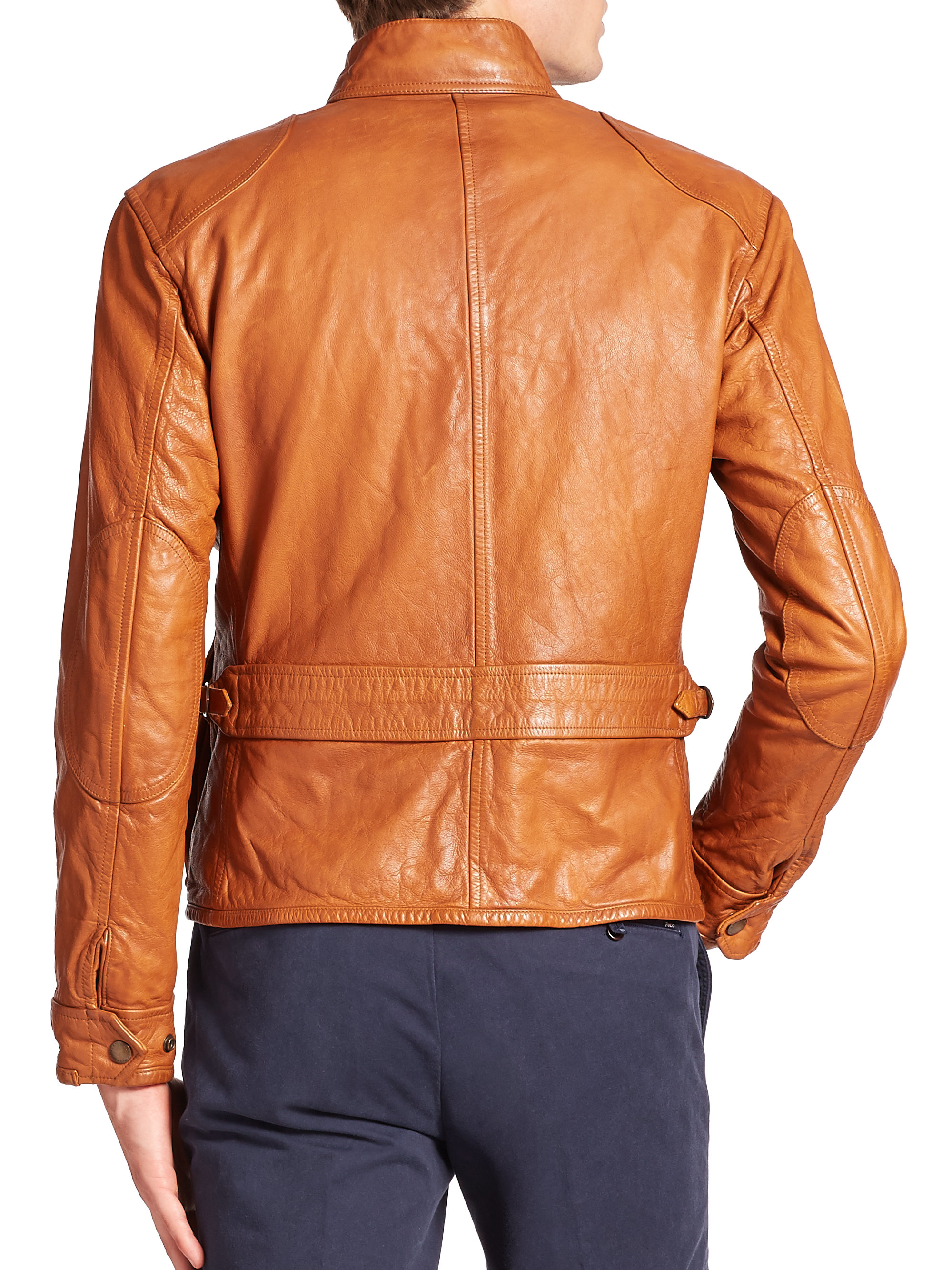 1ad373729 ... order lyst polo ralph lauren southbury leather biker jacket in brown  for men 1d9cf 83c78