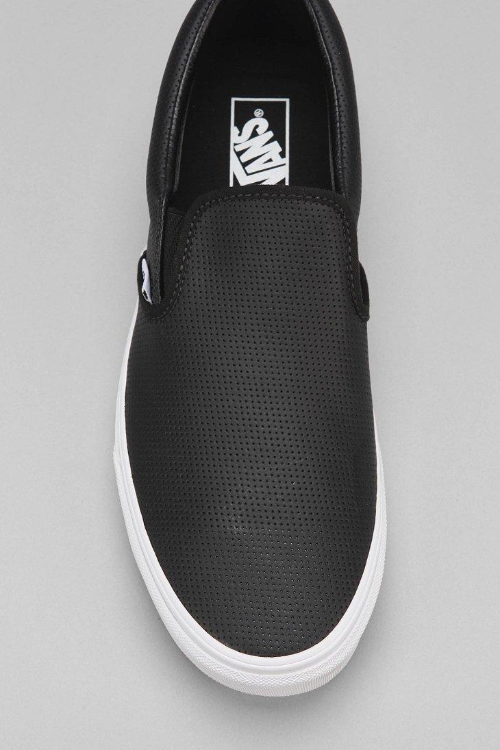 fb46e7e399698d Lyst - Vans Leather Slip-on Men s Sneaker in Black for Men