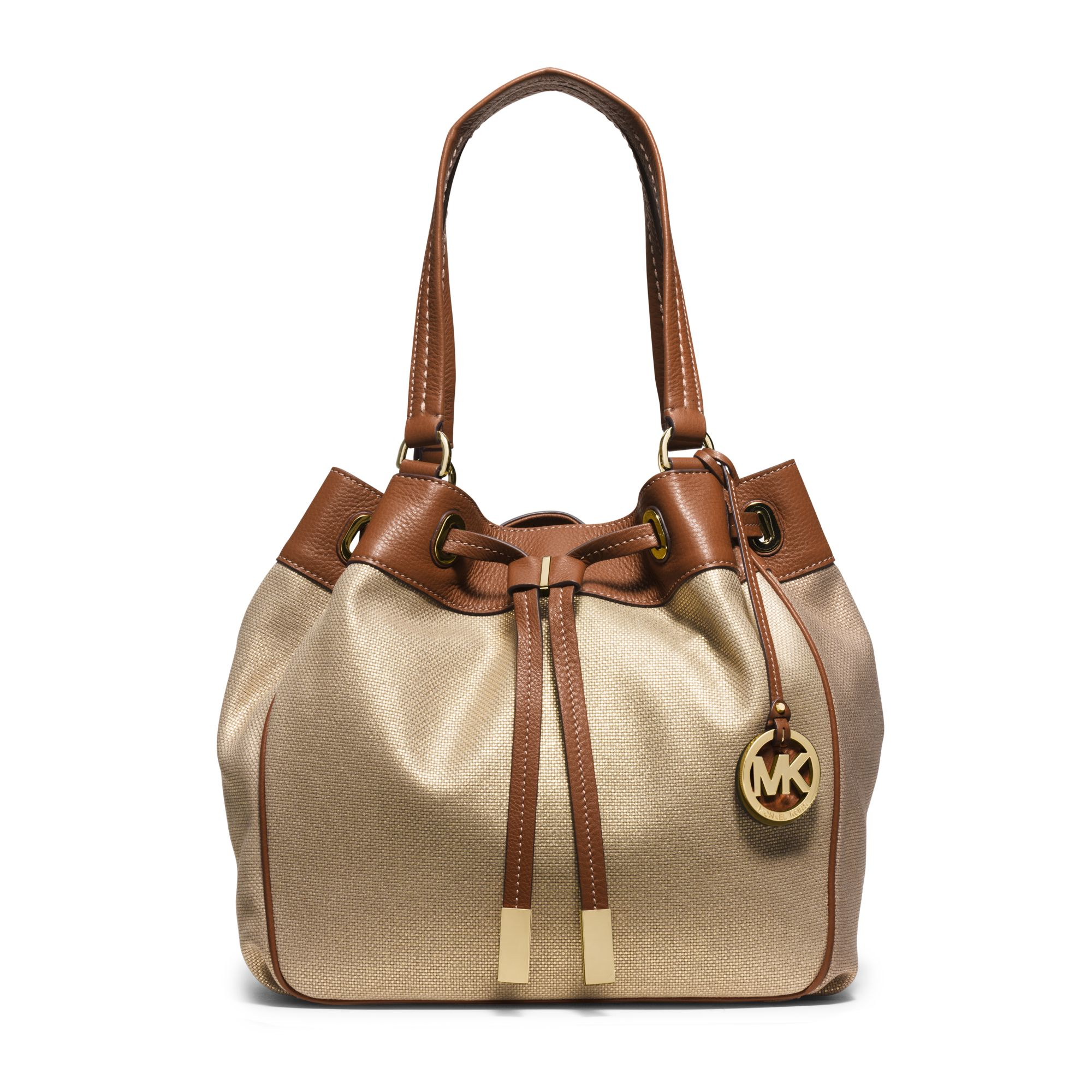 michael kors marina large canvas drawstring tote in