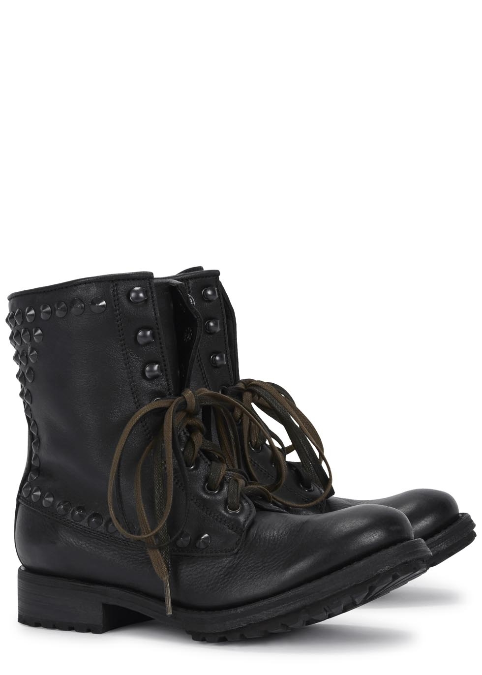 ash destroyer studded leather biker boots in gray lyst