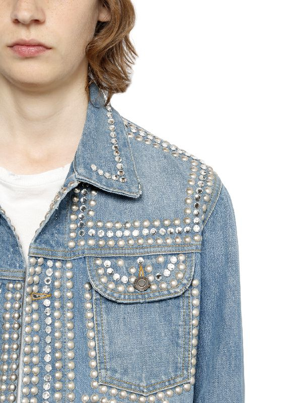 Lyst Saint Laurent Studded Stretch Japanese Denim Jacket