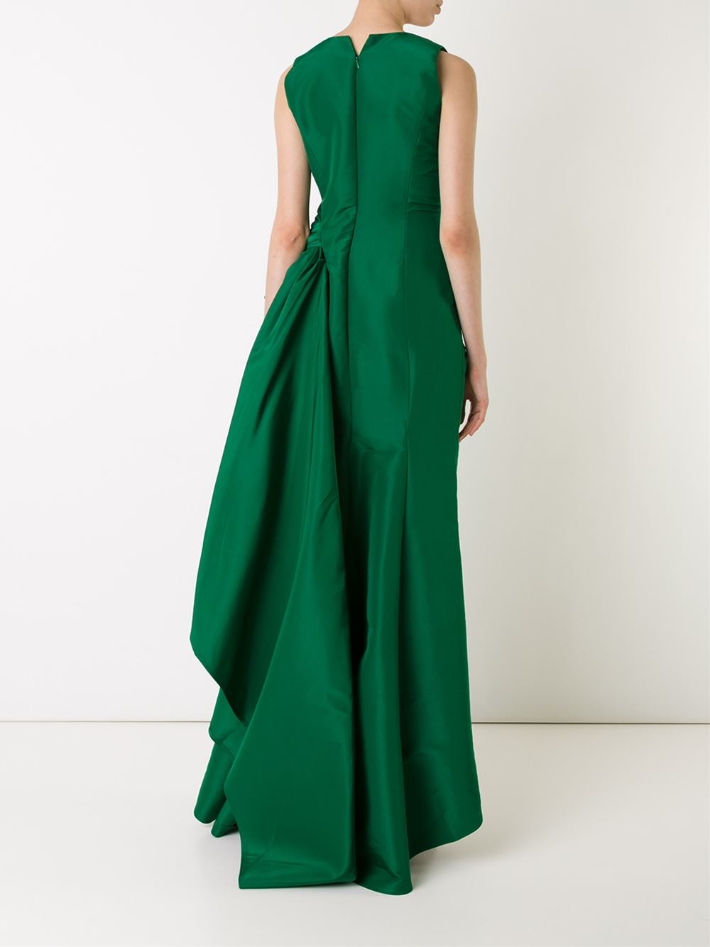 Lyst - Carolina Herrera Draped Evening Dress in Green