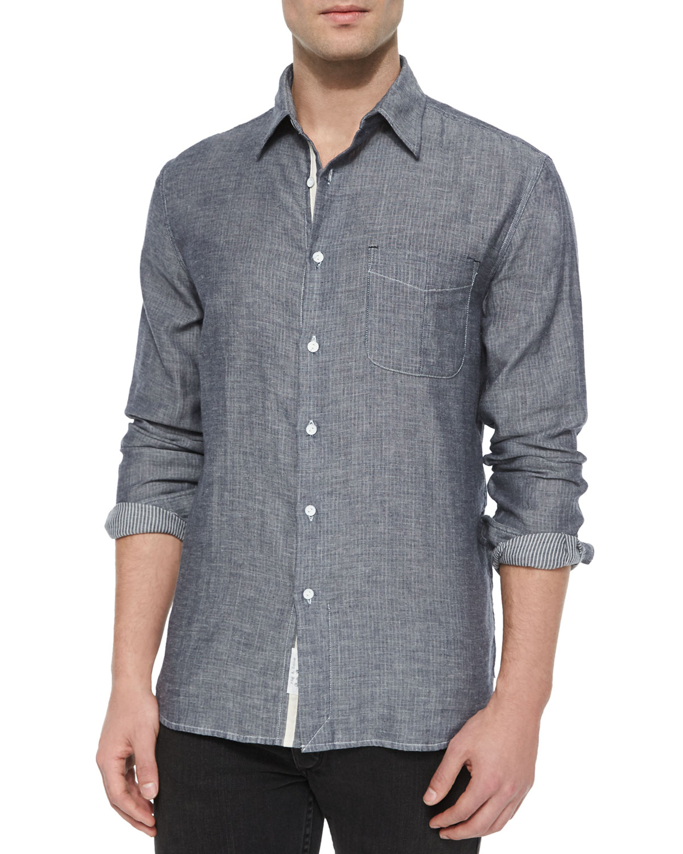 Rag bone beach striped long sleeve sport shirt in blue for Rag bone shirt