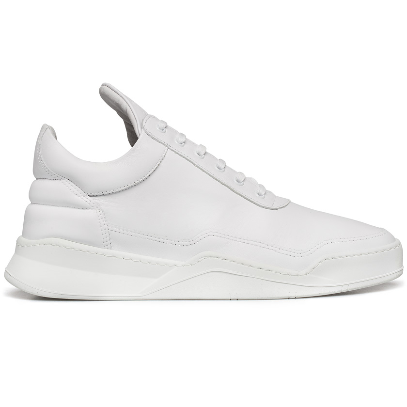 filling pieces ghost leather low top sneakers in white for