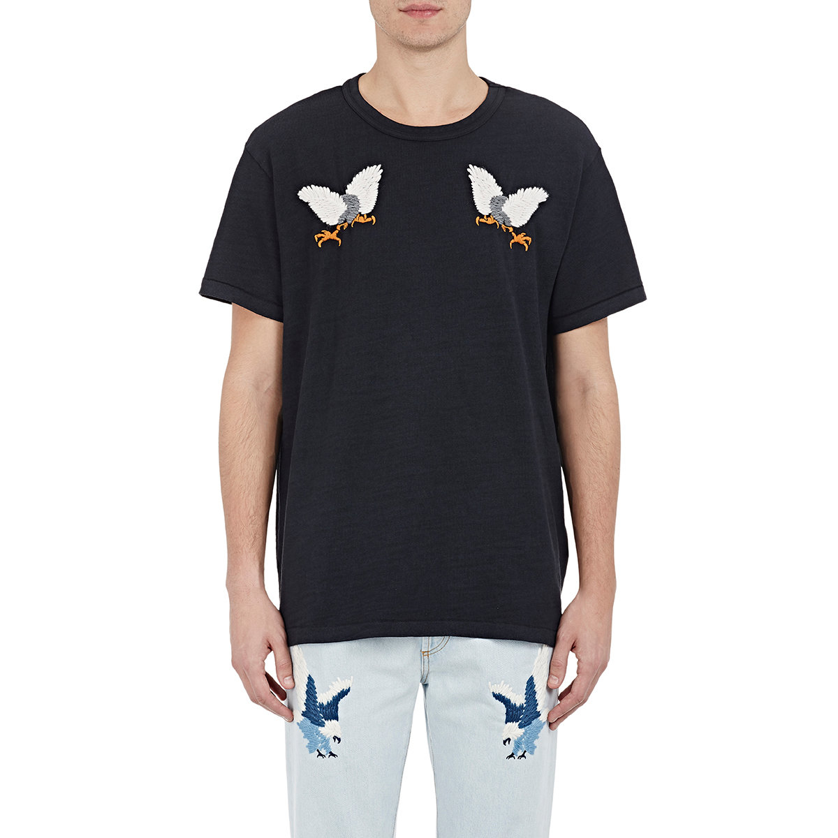 lyst off white c o virgil abloh men 39 s eagle embroidered t shirt in black for men. Black Bedroom Furniture Sets. Home Design Ideas