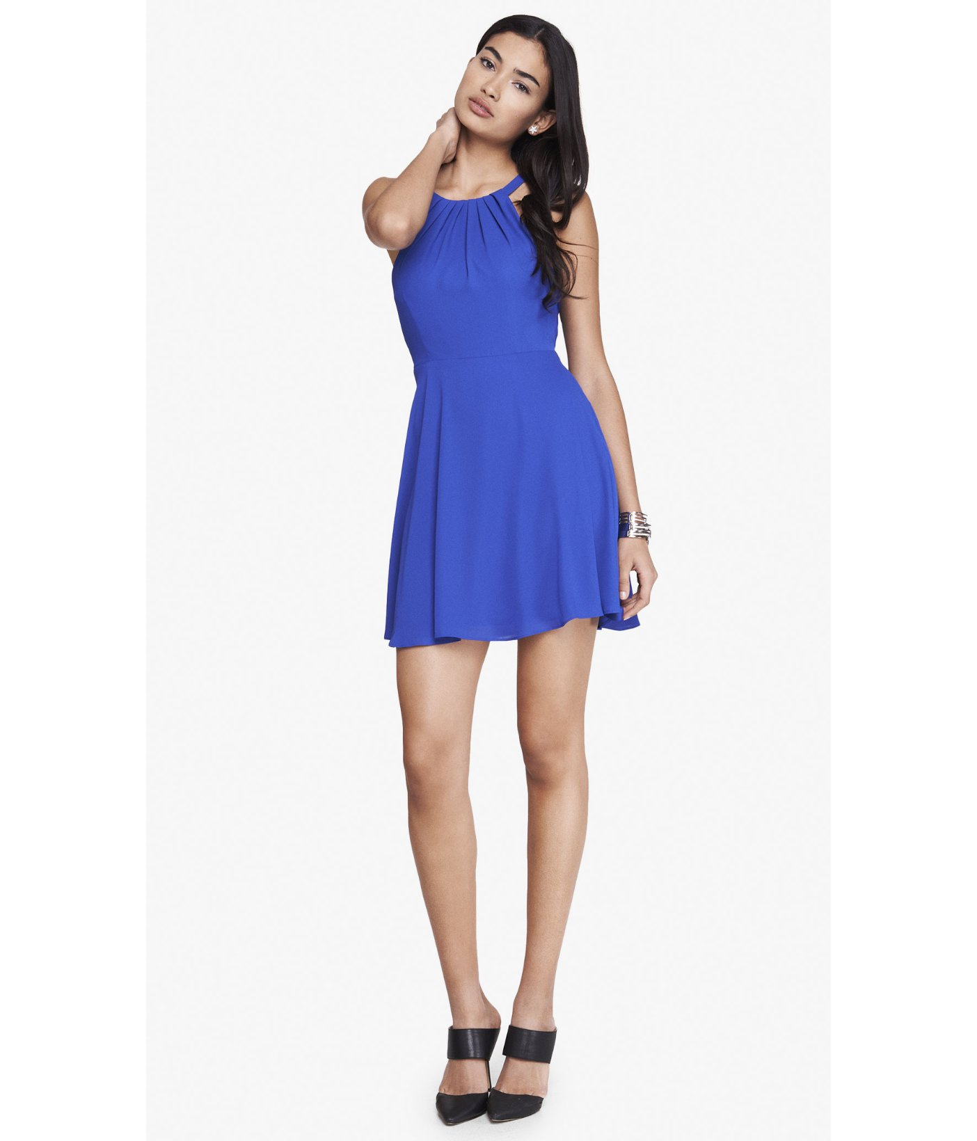 Express Royal Blue Fit And Flare Halter Dress in Blue  Lyst