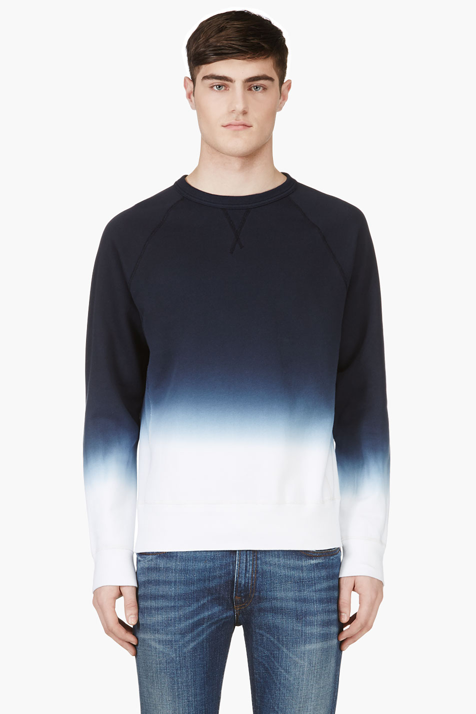 lyst acne studios navy ombre college degrade sweater in blue for men. Black Bedroom Furniture Sets. Home Design Ideas