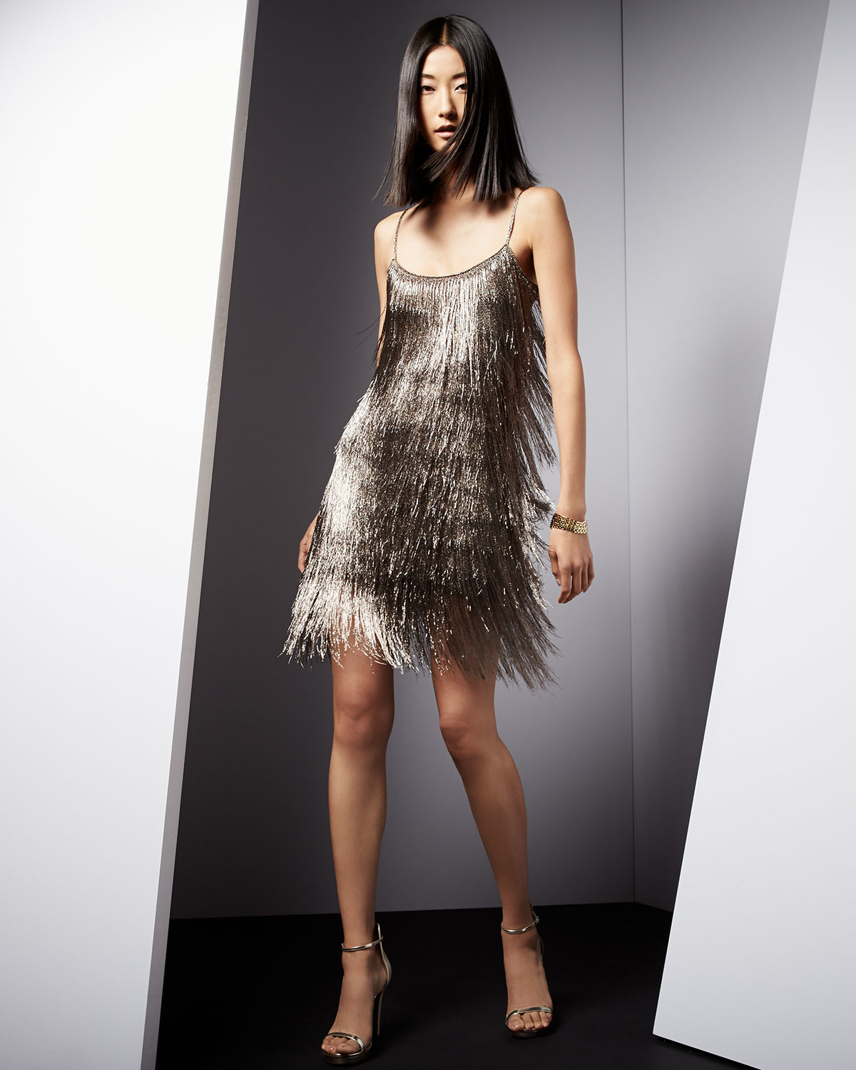 624359ac35a Rachel Zoe Sleeveless Fringe Cocktail Dress in Metallic - Lyst