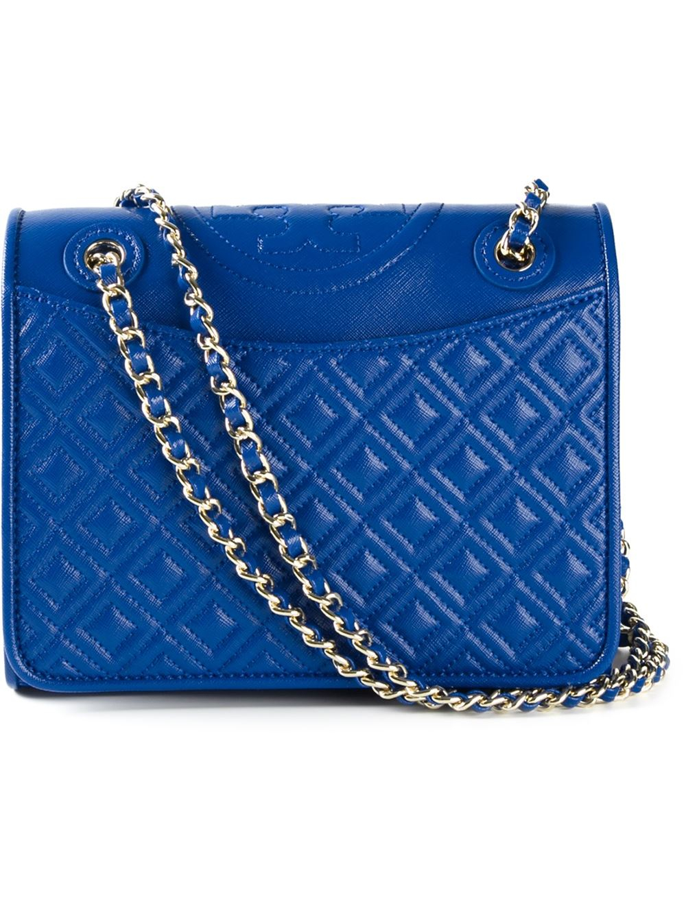 Lyst Tory Burch Fleming Quilted Shoulder Bag In Blue