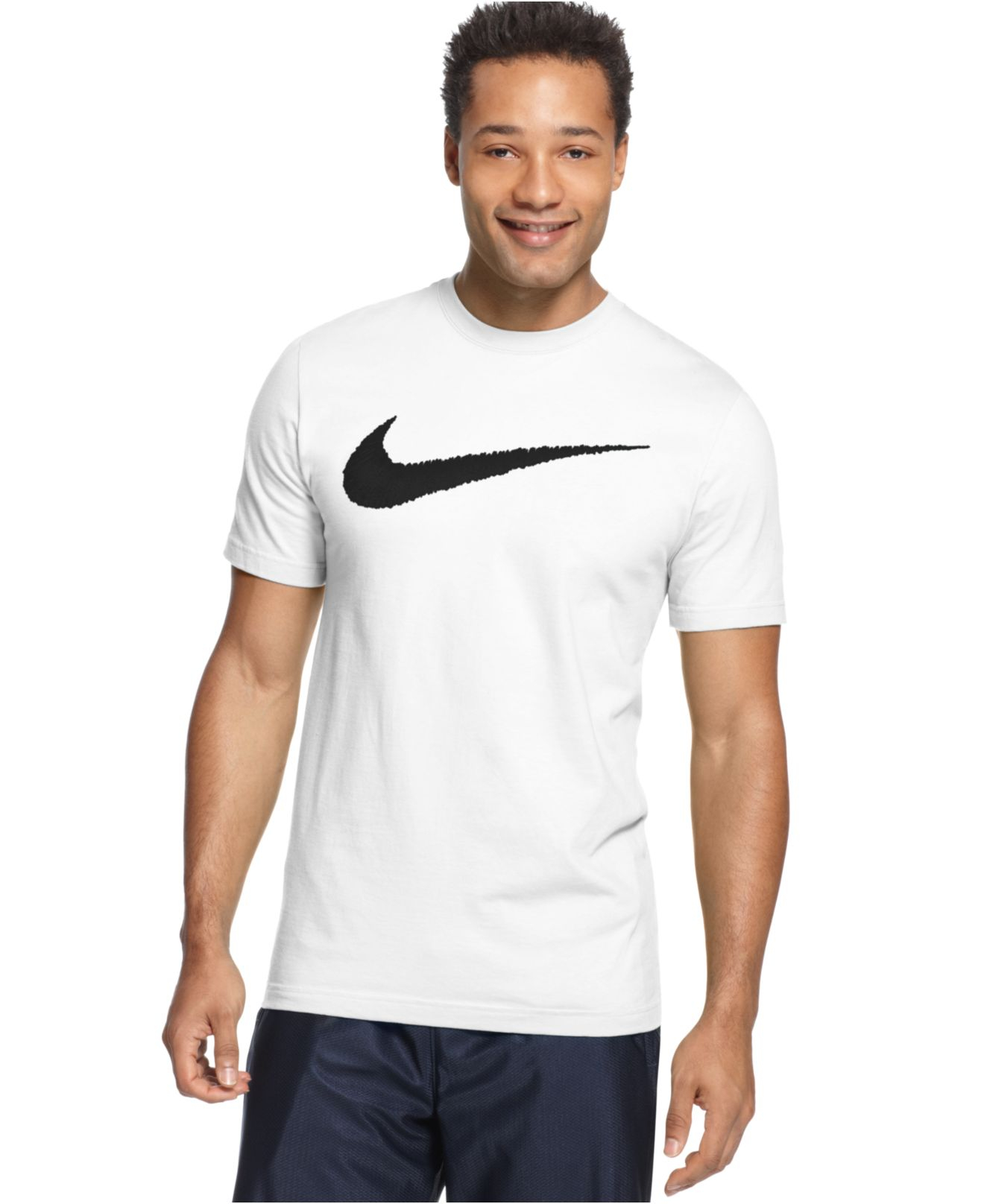lyst nike men 39 s hangtag swoosh t shirt in black for men