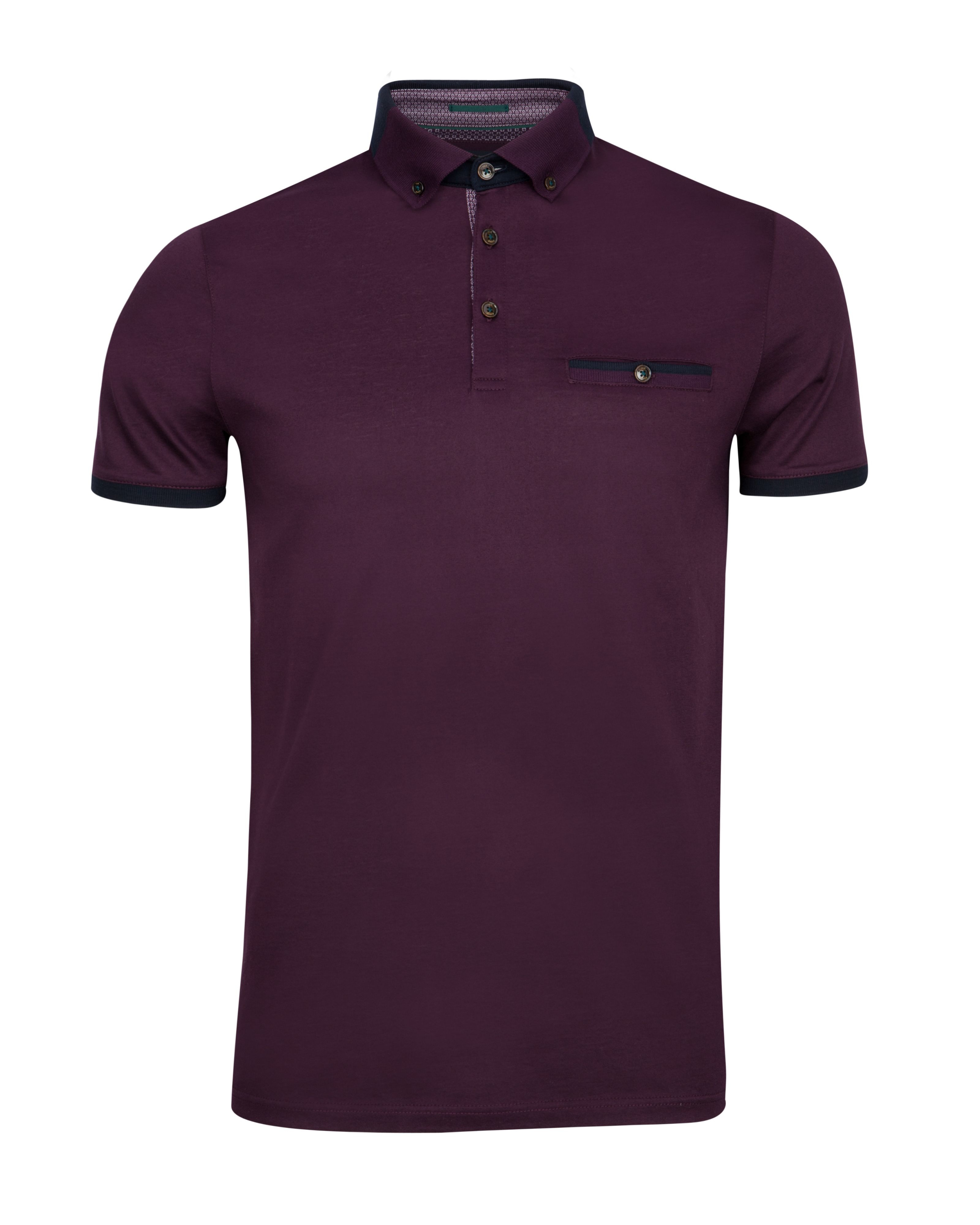 Ted baker eyebis colour block collar polo shirt in purple for Ted baker mens polo shirts