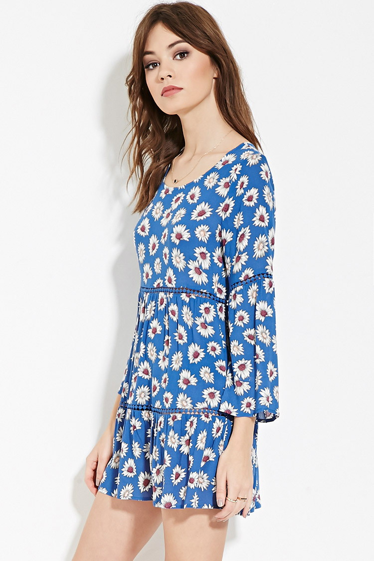 087673d0e7b59 Forever 21 Floral Print Mini Dress in Blue - Lyst