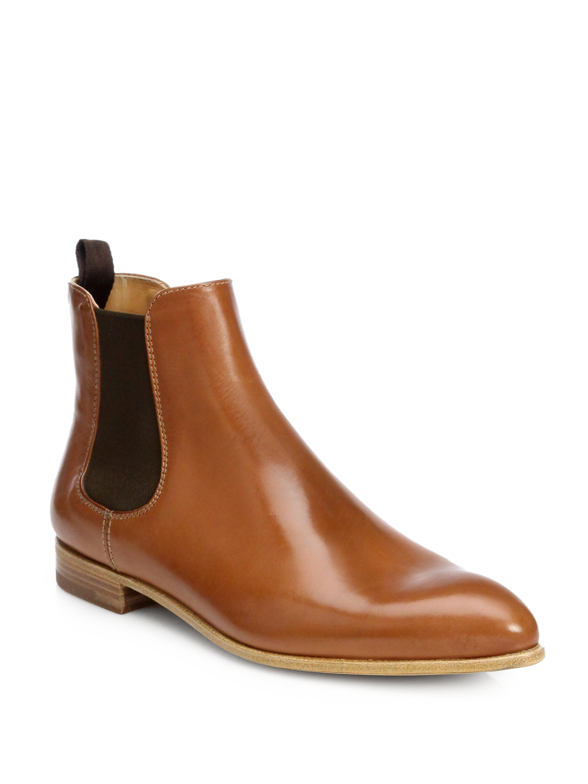 prada leather ankle boots in brown cuoio lyst