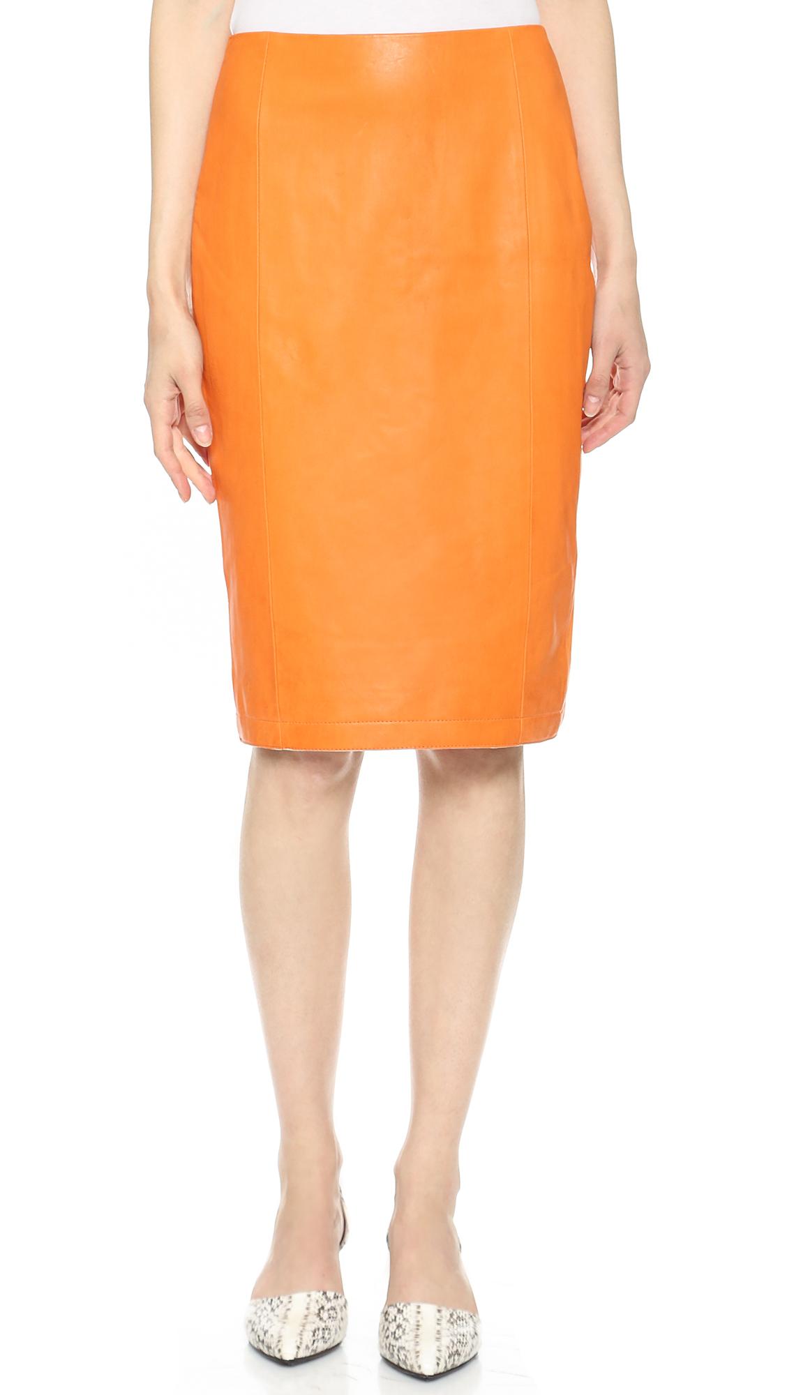 kayne cut away leather skirt orange in orange lyst