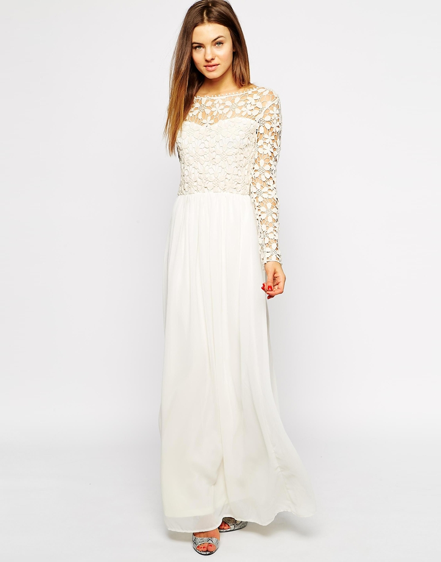 Lyst Club L Crochet Maxi Dress With Long Sleeves In Natural