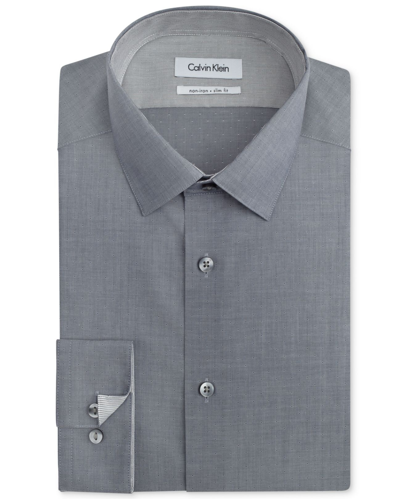 Calvin klein steel non iron slim fit textured patterned for No iron slim fit dress shirts