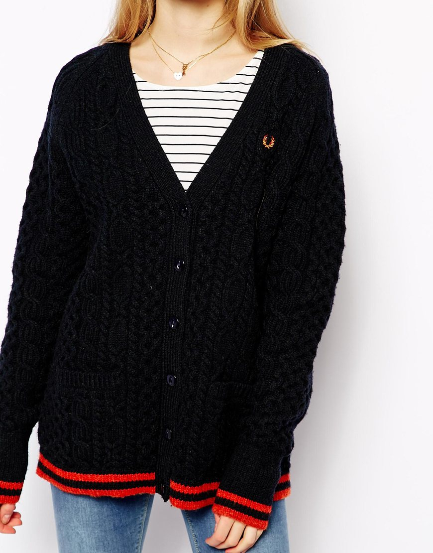 Fred perry Cable Knit Cardigan in Black | Lyst