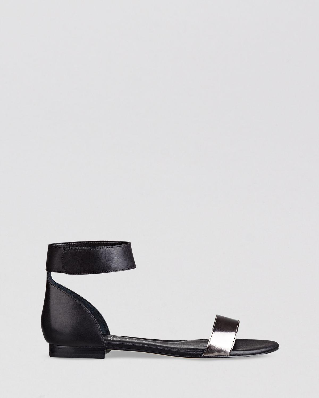 99a5a00764bb Lyst - Ivanka Trump Flat Open Toe Ankle Strap Sandals Sunny in Metallic