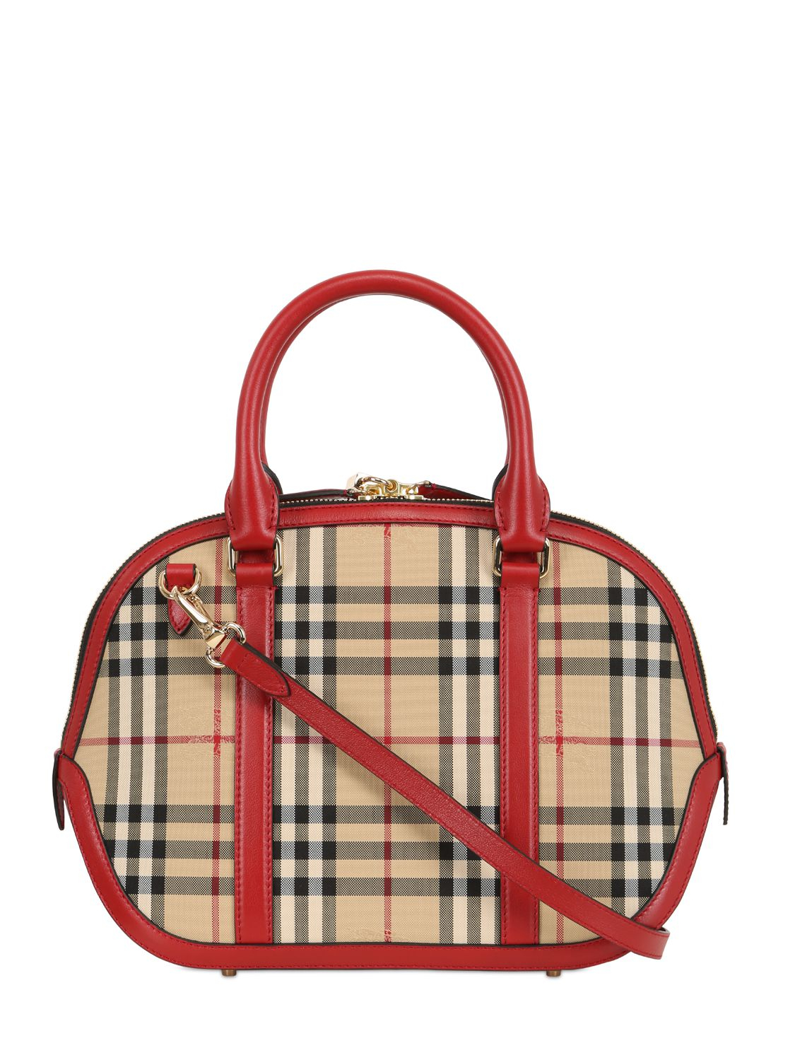 Burberry Small Orchard Bridle House Check Bag in Red - Lyst 0f9bfc0b5e386