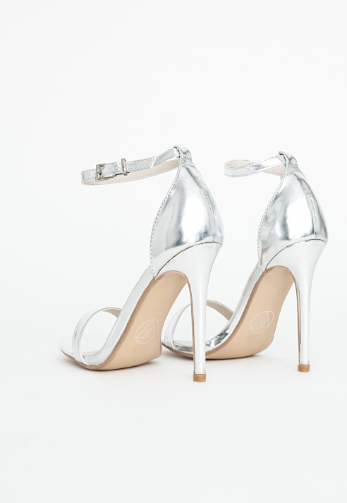 e8168210602b Lyst - Missguided Clara Strappy Heeled Sandals High Shine Silver in ...