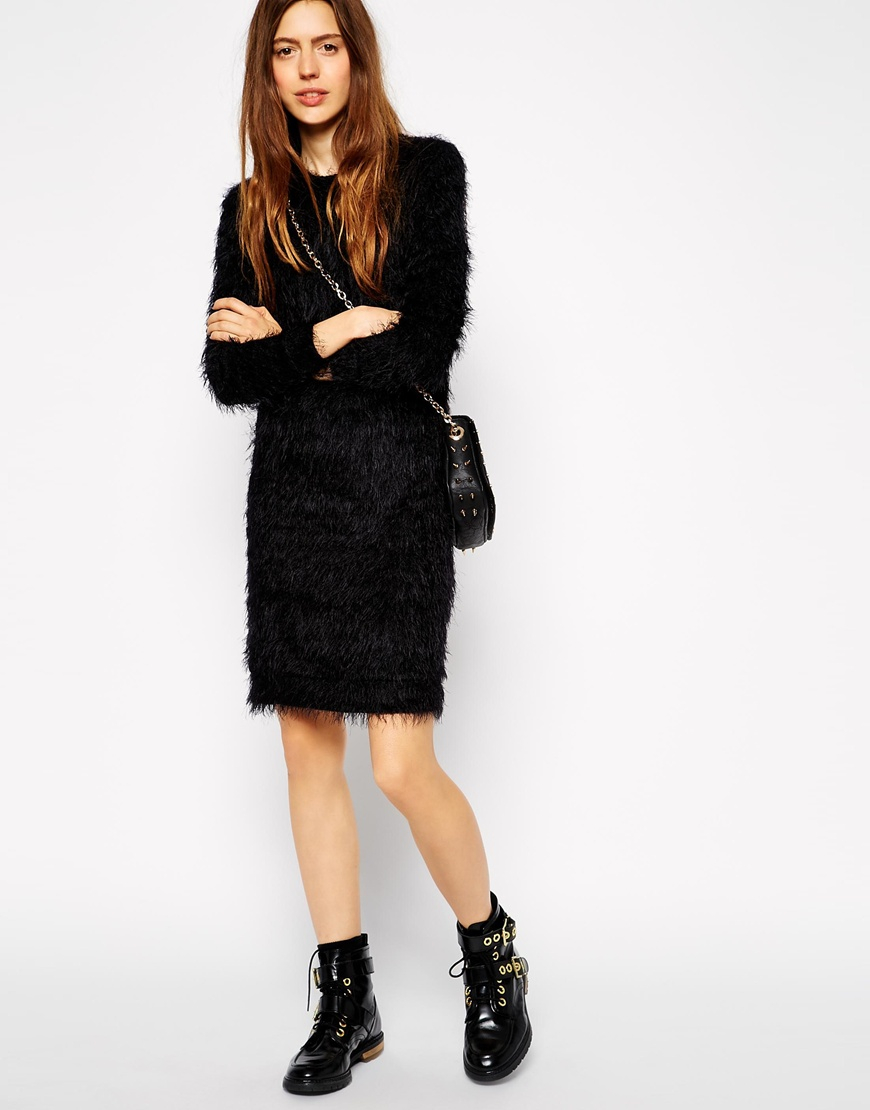 exceptional range of styles purchase cheap wide selection of colors ASOS Black Fluffy Jumper Dress With Long Sleeves